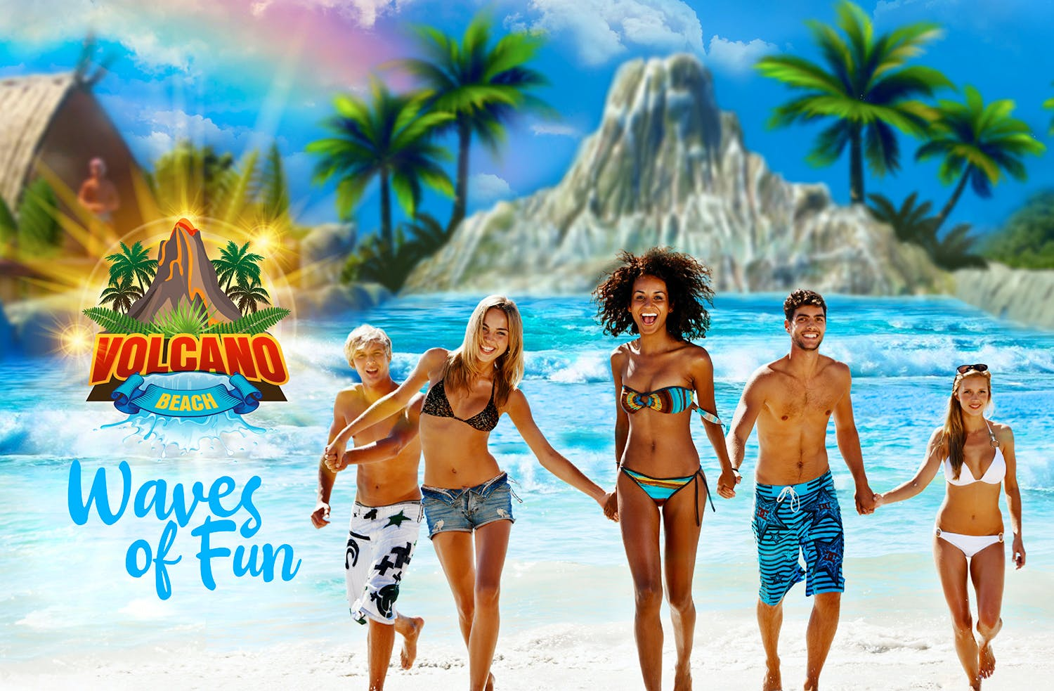 Volcano Beach Outdoor Heated Wave Pool - Funfields Theme Park